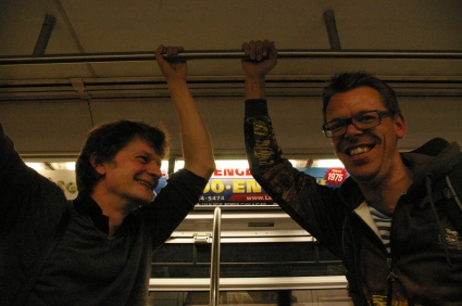 Christoph Simon und Markus Köhle riding the NY Metro